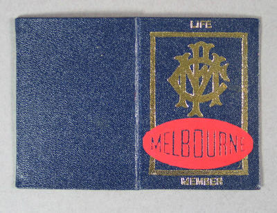 Melbourne FC life membership card issued to Dudley Phillips, season 1975