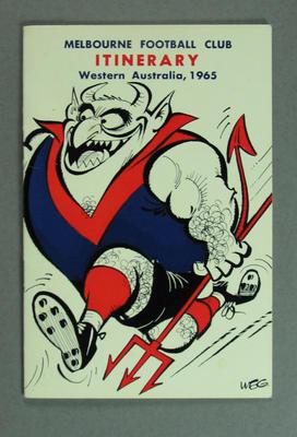"Booklet, ""Melbourne Football Club Itinerary Western Australia, 1965"""