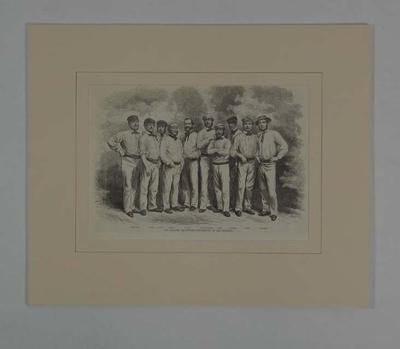"""Print, """"The English Cricketers - The Eleven of All England"""" - 1859"""
