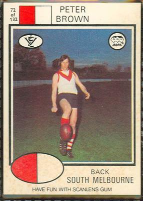 1975 Scanlens VFL Football Peter Brown trade card