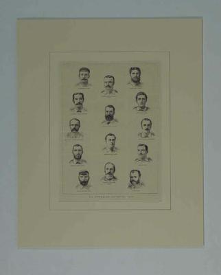 "Print, ""THE AUSTRALIAN CRICKETING TEAM"" - 1882; Artwork; M9025"