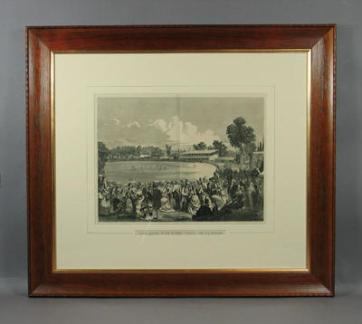 """Framed print, """"GRAND CRICKET MATCH BETWEEN VICTORIA AND ALL ENGLAND"""""""