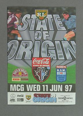Handbill, Rugby League State of Origin - MCG, 11 Jun 1997