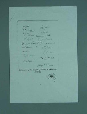 Photocopied autograph sheet, English Cricketers in Australia 1928-29
