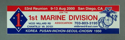 Sticker, United States 1st Marine Division 53rd Reunion - 2000; Games and toys; M9067.1