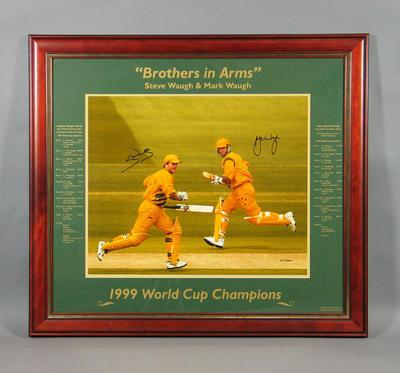 Framed photograph, Steve & Mark Waugh - 1999 Cricket World Cup