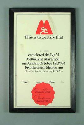 Framed Certificate - The Big M Melbourne Marathon 1980 - completed by B.J. Dixon