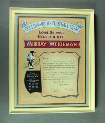 Collingwood Football Club Long Service Certificate, awarded to Murray Weideman
