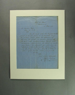 Handwritten letter addressed to R Wardill from Spiers and Pond, 1862; Documents and books; M9397