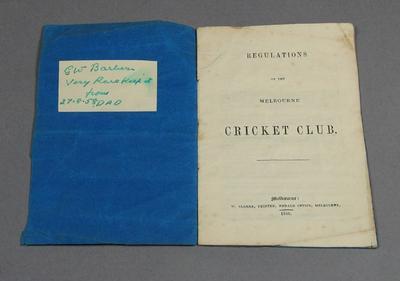 Regulations, Melbourne Cricket Club 1846