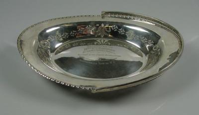 Basket presented to Mrs V Ransford, 1921 Australian tour of New Zealand