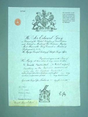 Passport issued to Donald Mackintosh, 20 Sept 1907