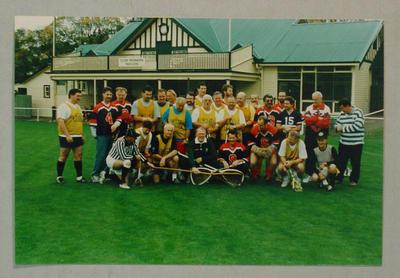 Thirty-four photographs, Melbourne CC Veterans Lacrosse Team at Albert Ground - 9 July 1995