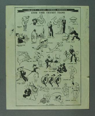 """Fixture, """"1946-47 Test Series Souvenir"""""""