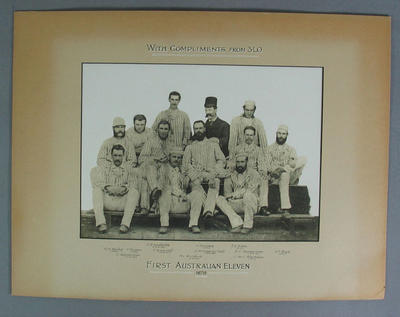 Black and white photograph - First Australian Eleven 1878.