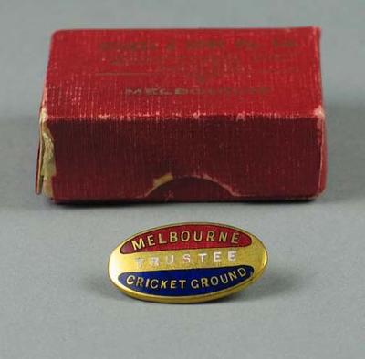 Melbourne Cricket Ground trustee badge, issued to Sir Robert Menzies