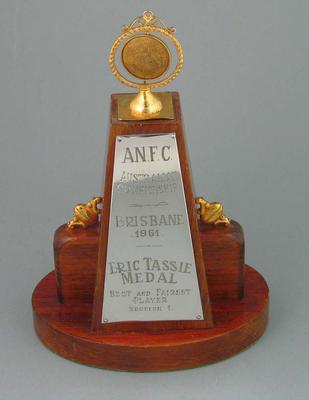 Trophy - Eric Tassie Medal, Best & Fairest Player - Brian Dixon 1961