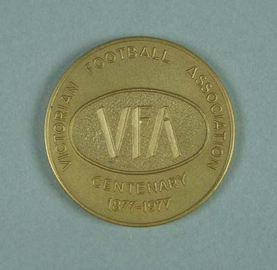 Gold gilt medallion - VFA Centenary Medal 1877-1977 - presented to Brian Dixon