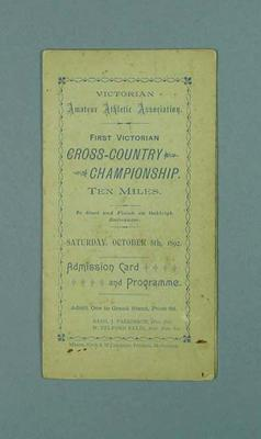 Programme - V.A.A.A. First Victorian Cross-country Championship 8 October 1892