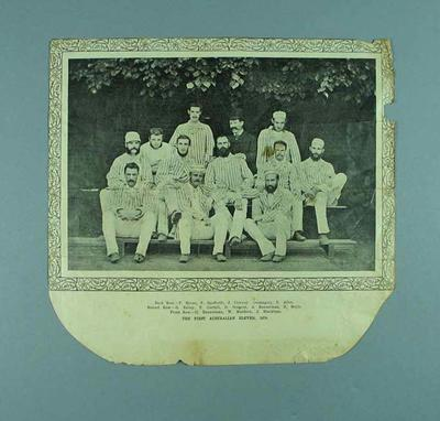 """Newspaper cutting, """"The First Australian Eleven 1878""""; Documents and books; 1985.13.12.3"""