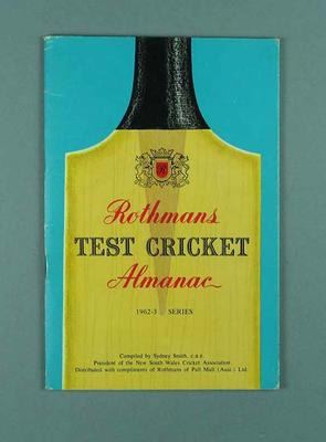 "Book, ""Rothmans Test Cricket Almanack 1962-63"""