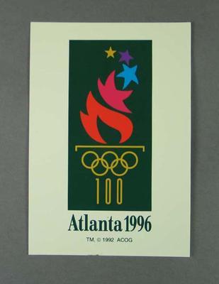 Postcard, 1996 Atlanta Olympic Games logo; Documents and books; 1997.3272.12