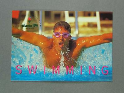 Postcard, 1996 Atlanta Olympic Games swimming events; Documents and books; 1997.3272.14