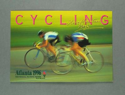 Postcard, 1996 Atlanta Olympic Games cycling events; Documents and books; 1997.3272.16