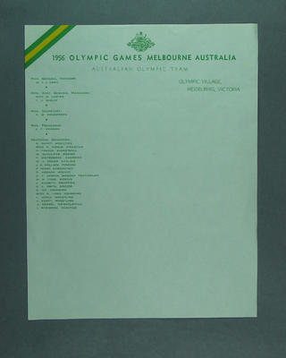 Letterhead, 1956 Australian Olympic Team