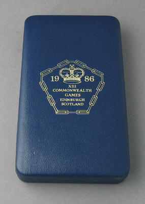Box for medal won by Peter Antonie, 1986 Commonwealth Games