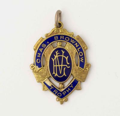Medal - Chas Brownlow Trophy 1933 awarded to Wilfred Arthur Smallhorn