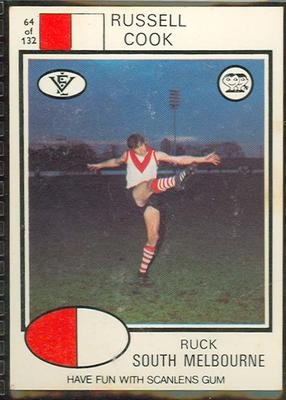 1975 Scanlens VFL Football Russell Cook trade card