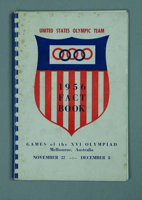 Fact book, 1956 United States Olympic Games team; Documents and books; 1992.2621.3