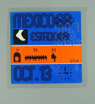 Ticket - Admission to Athletics, 1968 Mexico Olympic Games, 13 October 1968