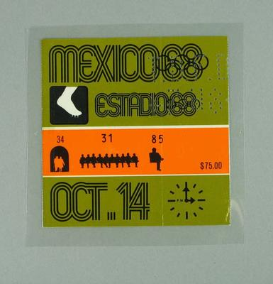 Ticket - Admission to Athletics, 1968 Mexico Olympic Games, 14 October 1968