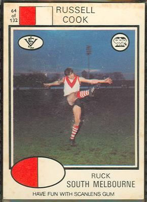 1975 Scanlens VFL Football Russell Cook trade card