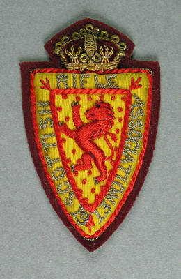 Bullion badge, Scottish Rifle Association 1913