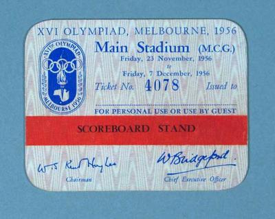 Admission pass to Melbourne Cricket Ground, 1956 Olympic Games