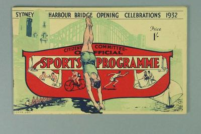 Sports programme for opening of Sydney Harbour Bridge, 1932