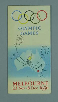 Programme, 1956 Melbourne Olympic Games; Documents and books; 1996.3153.19