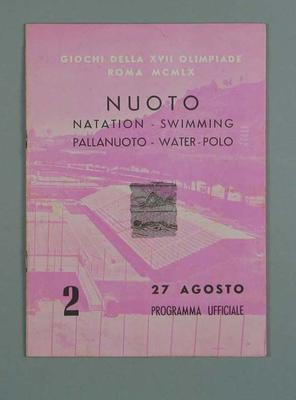 Programme for 1960 Olympic Games swimming events, 27 August