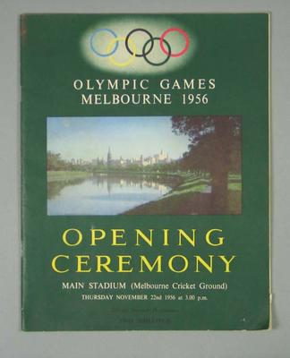 Programme for 1956 Olympic Games Opening Ceremony, 22 November