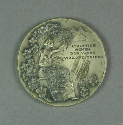 Medal won by Winsome Cripps, 1954 British Empire & Commonwealth Games women's 220 yrds - second place
