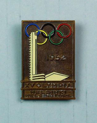 Metal badge, XV Olympia Helsinki 1952