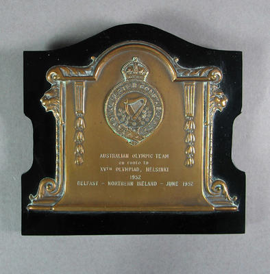 Plaque presented to Australian Olympic team by Royal Ulster Constabulary, June 1952