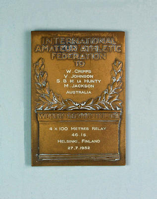 IAAF World Record Holder plaque, 4x 100 metres relay - Helsinki, 27 July 1952