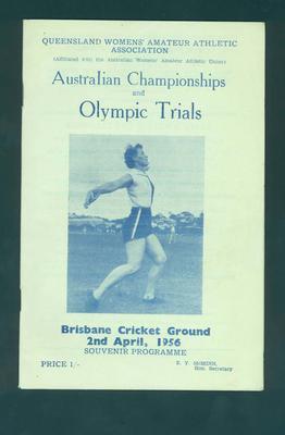 Programme, Australian Championships & Olympic Trials - 2 April 1956