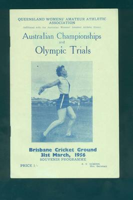 Programme, Australian Championships & Olympic Trials - 31 March 1956