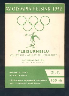 Programme, 1952 Helsinki Olympic Games athletic events - 21 July