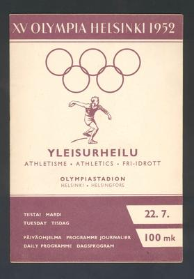 Programme, 1952 Helsinki Olympic Games athletic events - 22 July
